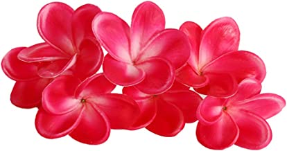 Xilyya 10PCS Natural Real Touch Artificial Not Silk Plumeria Flowers Head with Stem for DIY Cake Decoration and Wedding Bouquets (Rose Red)