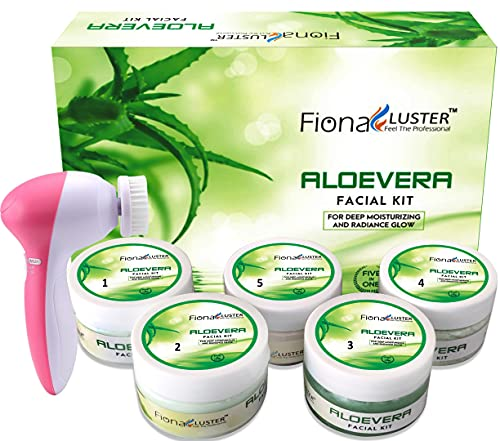 Fiona Lotus® Luster Aloevera Facial Kit with Face Massager For Facial, Glow Beauty Parlour Facial Kit Pro Active, All Type of Skin Solution for men & women fairness-250 gm
