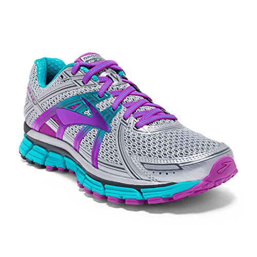 Brooks Women's Adrenaline GTS 17 Silver/Purple Cactus Flower/Bluebird 11.5 B US
