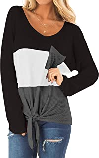 Xmiral Womens Ronde hals Gestreept Kleur Blok Tops T-Shirt Geknoopt Hem Plus Size Blouse