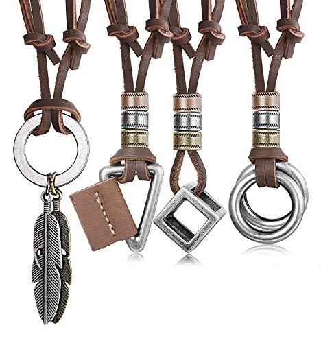 Finrezio 4 Piezas Collar De Cuero para Hombres, Mujeres, Colgante De La Vendimia, Collar De Cadena De Cubo De Plumas Ajustable Marrón