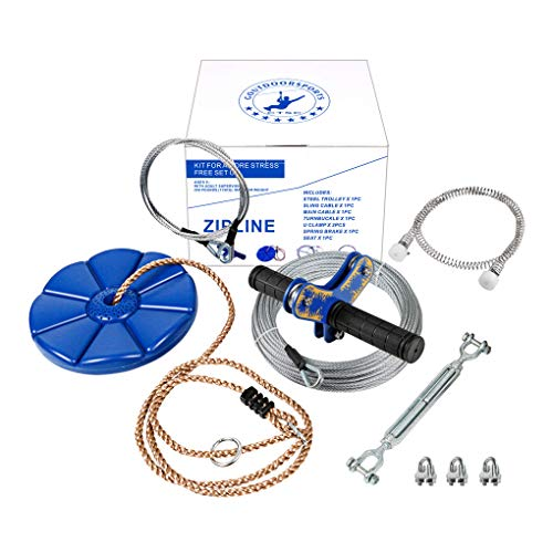 CTSC 75 Foot Zipline Kit with Stainless Steel Spring Brake and Seat, Ziplines for Backyards, Bring Colorful Fun and Enjoyment with The Most Complete Accessories Zip line(Up to 250lb) (Blue)