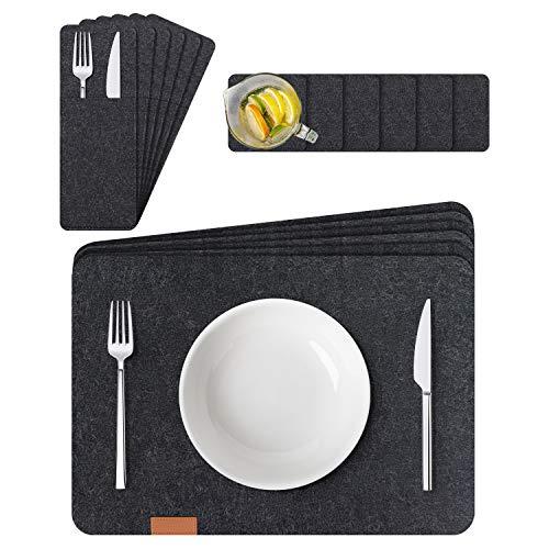 Manteles Individuales Lavables de Fieltro Juego de 6 – Incluidos Mantel Individual, Posavasos, Bolsas para Cubiertos – para la Mesa de Comedor de Cocina (Gris)