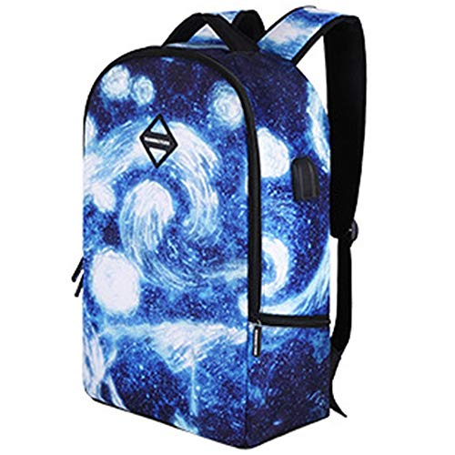 FAGavin Student Business Travel Polyester Starry Sky Pattern With USB Charging Port And Headphone Interface Bag, Suitable For 14-inch Laptop, Suitable For College Students, Men And Women