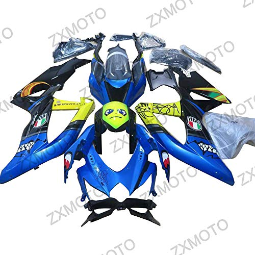 ZXMOTO Blue Shark Motorcycle Fairing Kit ABS Plastic Bodywork for 2008 2009 2010 Suzuki GSXR 600/GSXR 750 Fairings Set