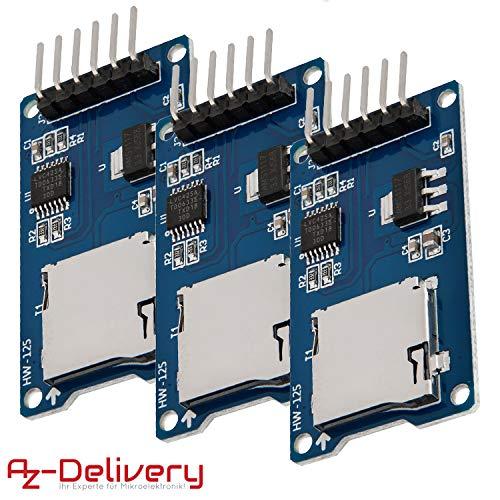 AZDelivery 3 x SPI Reader Lector de Tarjeta SD TF modulo Memory Card Shield para Arduino con ebook Gratis!