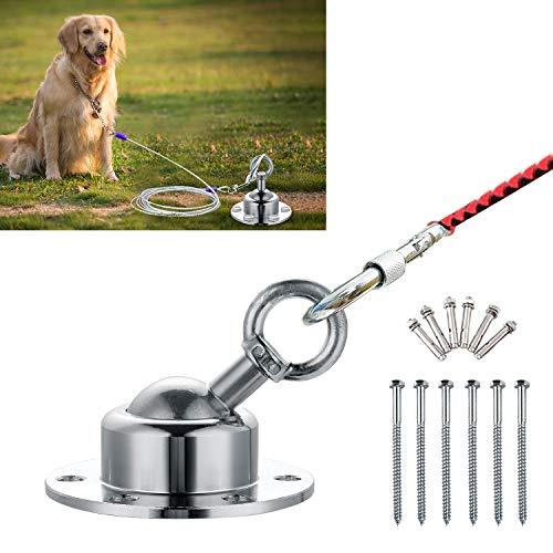 Anlegepflock, Drehbar um 360°, Hundeanker vom Edelstahl mit Tragekasten für große Hunde, verwendbar im Vorgarten, beim Camping und auf Reisen