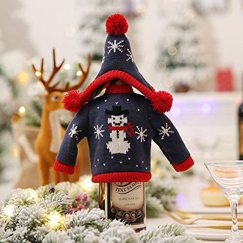 LYFWL Kerstdecoratie Creatieve Breien Rode Fles Sets Versierd Hotel Restaurant Supermarkt Wijn Champagne Fles Cover Sets Sneeuwman Hoed 15 * 13Cm 15 * 29Cm Kleding