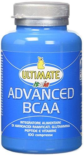 Advanced BCAA - Formula Avanzata - Aminoacidi Ramificati Nel Rapporto 4:1:1 - Leucina, Isoleucina, Valina, Glutammina Peptide, Vitamina B6 - Maggiore Assimilazione - 100 Compresse - Ultimate Italia
