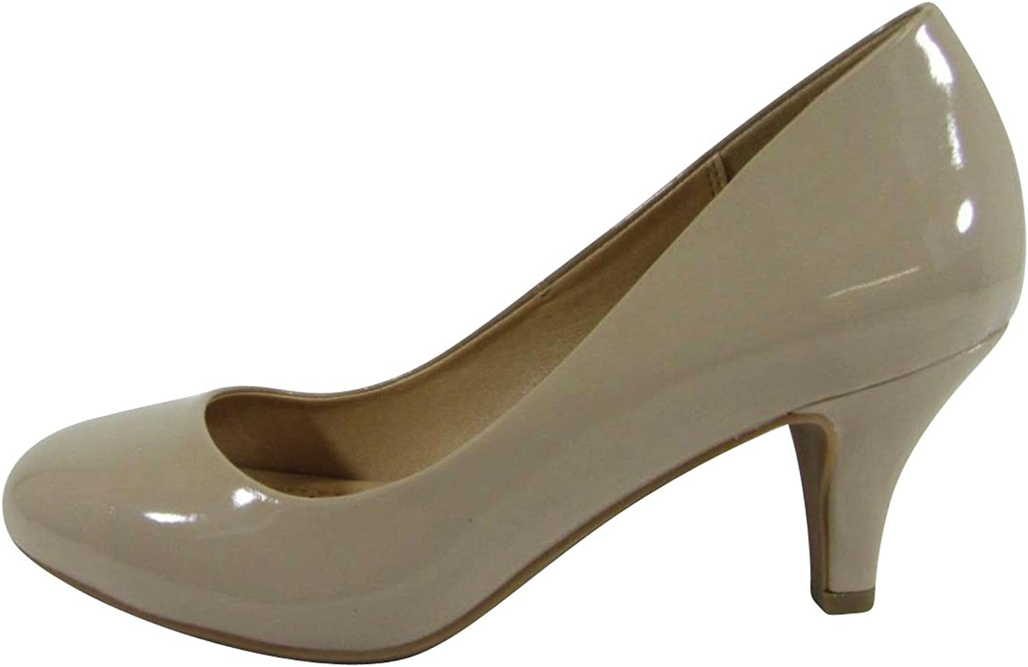 Cambridge Select Women's Closed Round Toe Padded Comfort Slip-On Mid-Heel Pump