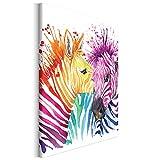 Revolio - Cuadro en Lienzo - impresión artística - Decoracion de Pared - Tamaño: 40x60 cm - Cebra abstracción Color
