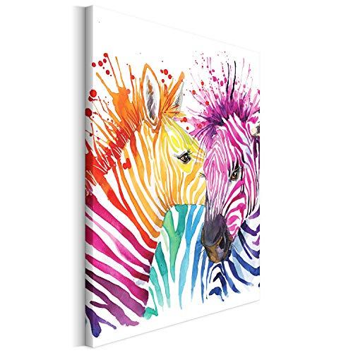 Revolio - Cuadro en Lienzo - impresión artística - Decoracion de Pared - Tamaño: 50x50 cm - Cebra abstracción Color