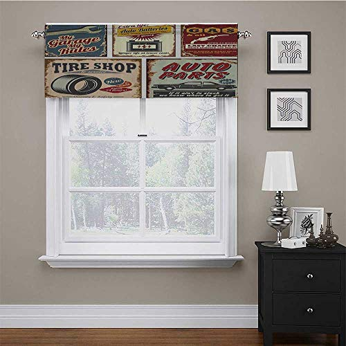 "carmaxs Window Treatment Supplies 1950s Decor Collection Light Blocking Valance Vintage Car Metal Signs Automobile Advertising Repair Vehicle Garage Servicing Image 42"" x 18"" Burgundy"