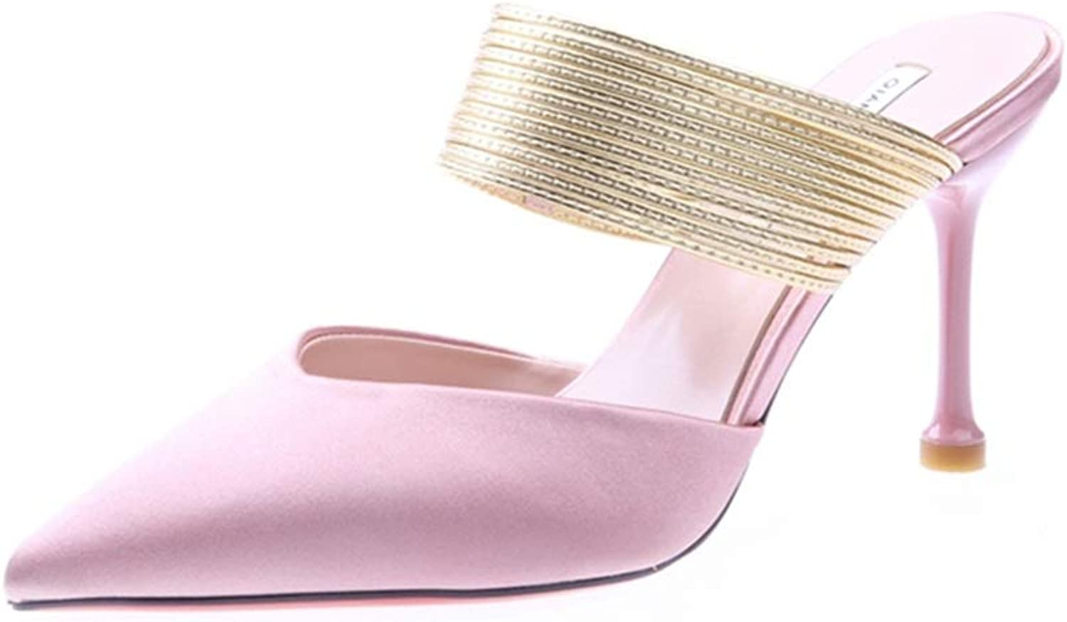 WANGFANG Sandals Sandals and Slippers, Summer Baotou Stiletto Slippers Shallow High Heel Slippers for Women (color   Pink, Size   US7 EU38 UK5 MX4.5 CN38)