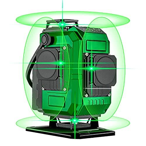 Nivel láser, Careslong 16 lineas Nivel Láser Verde autonivelantes 4 * 360 líneas cruzadas horizontales y verticales Línea de rayo láser verde IP54 nivelación impermeable y alineación menos de 5nw