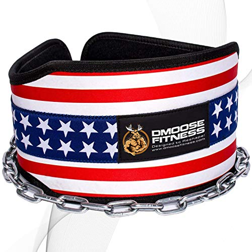 DMoose Fitness Dip Belt with Chain for Weightlifting, Pullups, Powerlifting, and Bodybuilding...