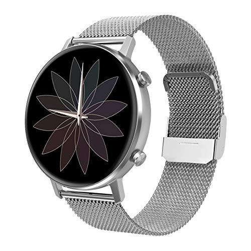 Padgene Mode Smartwatch Herren Damen, wasserdichte Smartwatch Sportuhr Fitness Tracker Armband Uhr mit SMS Anrufbenachrichtigung Herzfrequenz Schlafmonitor Kompatibel für IOS Android (Silber)