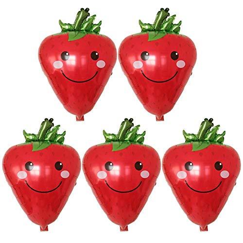 CAOLATOR 5 Stück Folienballon Folienballon Erdbeere Schulanfang Gemüse Obst Metallic Luftballons Metallic Heliumluftballons Folie Luftballons für Hochzeit Geburtstag Luftballon Party Deko