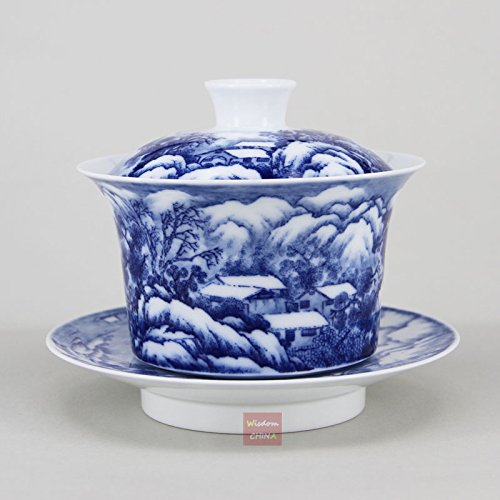 Check Out This Hand painted snow scene Chinese Blue and white porcelain gaiwan tea cup 250cc