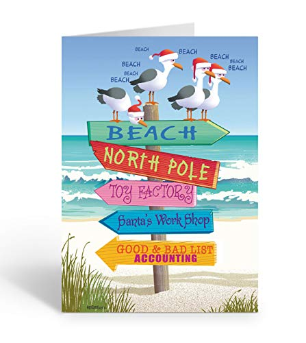 Beach Signs Christmas Card - Boxed Set of18 Christmas Cards & Envelopes (Standard)