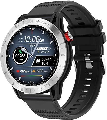 YSQ Pulsera Inteligente, Pantalla Redonda de 1.3 Pulgadas Sports Multifunction 3atm Smart Smart Message Smart Message Mensaje Remarre Premium Watch,Plata