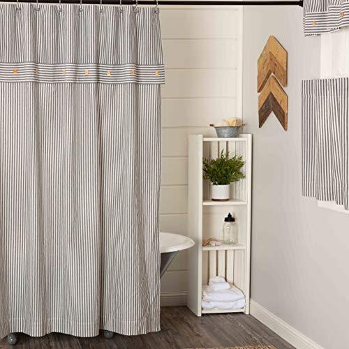 "Farmhouse Ticking Stripe Gray Shower Curtain, 72"" x 72"", Farmhouse Bathroom Accent"
