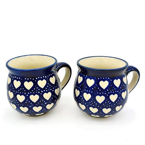 Bunzlauer Keramik Kugelbecher 200 ml (Dekor Weisse Herzen)