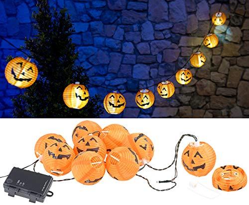 PEARL Herbstdeko: LED-Lichterkette mit 10 Lampions im Halloween-Kürbis-Look, Timer, IP44 (Lichter)