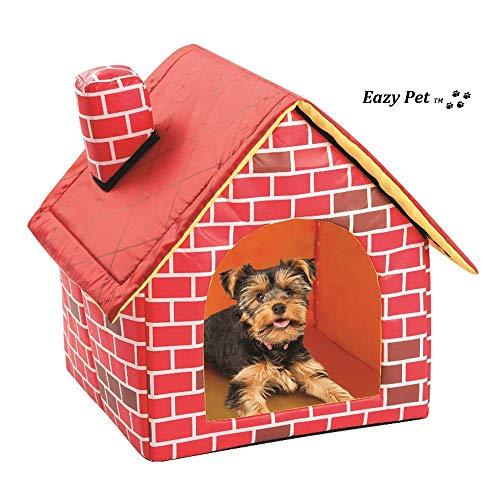 Cama de Felpa para Perro Fox Terrier, Plegable, con Aspecto Real y caseta de Viaje de Chimenea, cómoda y compacta, Cama Suave para Perros y Gatos de tamaño pequeño