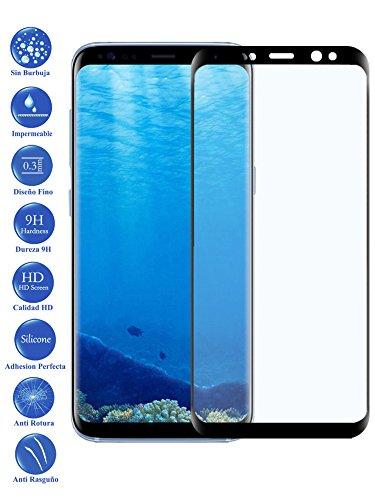 Todotumovil Protector de Pantalla Samsung Galaxy S8 Negro Completo 3D Cristal Templado Vidrio Curvo para movil