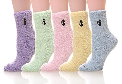 MQELONG Womens Super Soft Fuzzy Cozy Home Sleeping Socks Microfiber Winter Warm Slipper Socks (5 Pairs Cat)