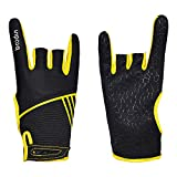 Professional Anti-Skid Bowling Gloves Comfortable Bowling Accessories Semi-Finger Instruments Sports Gloves Mittens for Bowling (Black Yellow, M)