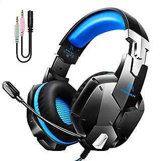 YINSAN最新版 ゲーミングヘッドセット ps4 ヘッドセット 3.5mm 有線 高音質 伸縮可能 360°マイク付き 50mm ステレオ サラウンド 重低音強化 軽量 騒音軽減 PS4/Switch/PC/Xbox One/スマホ/スカイプ/FPSゲーム対応 ブルー 1年保証 TM-50