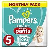 Pampers - Baby Dry Pants - Pañales talla 5 (12-17 kg) - Pack 1 mes (x132 bragas) Easy-On para hasta 12 horas de secado transpirable, paquete mensual: el empaque puede variar