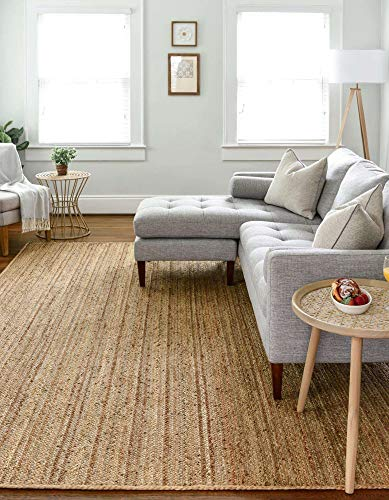 The Knitted Co. 100% Jute Area Rug 8 x 10 Feet - Braided Design Hand Woven Natural Carpet - Home Decor for Living Room, Hallways, Rectangle Natural Fibres