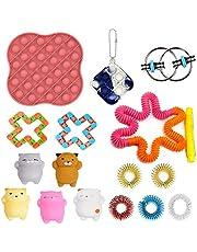 Fidget Speelgoedset, Fidget Toys Pack, 26 stuks Fidget Pack, Marmer en Mesh, Sojabonen Squeeze, Lichtgevende Push Pop Bubble Fidget Speelgoed voor Kid Volwassen ADHD Autistic Verlicht Stress