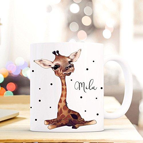 ilka parey wandtattoo-welt Tasse Becher mit Giraffe Punkten & Wunschname Kaffeebecher Name Geschenk Namenstasse ts610