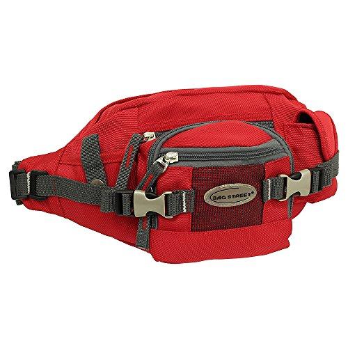 Geschenkset - exklusiver Ledershop24 Schlüsselanhänger + Herren & Damen Bag Gürteltasche Bauchtasche Hüfttasche Angeltasche Wimmerl Tasche ca. 25 cm Farbe rot