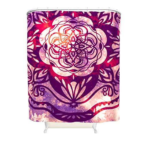 CATNEZA Duschvorhang - Rosa Mandala Gedruckt Individuellkeit Polyester -Mandala Badvorhänge Haken Enthalten White 200x200cm