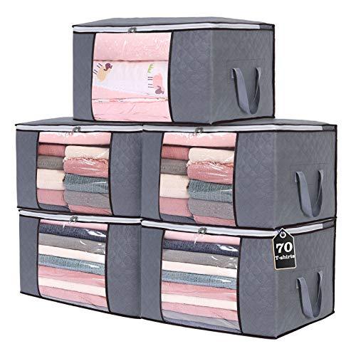 Yopih Bolsa de Almacenamiento de nórdico en Gruesa no Tejida Bolsa de Almacenamiento Debajo de la Cama para Edredones Mantas Almohadas Juguetes Chaquetas Ropa Pluches (Gris 5 Piezas)