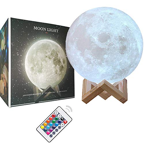 Ricris Moon Lamp Cool 16 Colors 3d Printed Moon Light Lamps Remote Control Mood Lamp Home Decor Night Light With Wood Stand Rechargeable Lunar Moon Soft Light Color Change Moonlight Lamps 5 9in Buy
