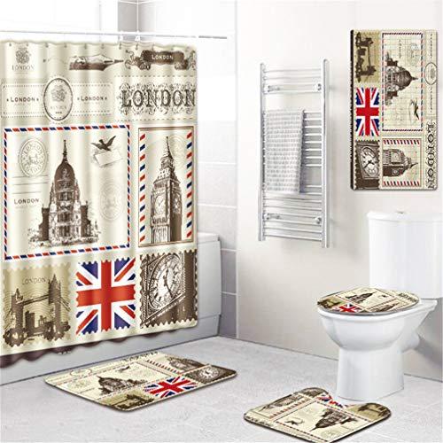 AMON LL voetstuk tapijt deksel wc cover badmat set, Eiffel toren bad mat set badkamer accessoires gordijnen met haken