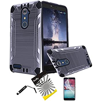 for ZTE ZMAX PRO Z981 ITUFFY 3items  LCD Protector Film+Stylus Pen+Dual Layer [Shock Absorbant] [Slim Fit] Hybrid Armor Case  Metallic Grey