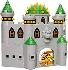 "Nintendo Bowser's Castle Super Mario Deluxe Bowser's Castle Playset with 2.5\"" Exclusive Articulated Bowser Action Figure, Interactive Play Set with Authentic In-Game Sounds"