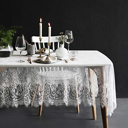 """Lahome White Lace Tablecloth - Rose Vintage Embroidered Lace Table Cover for Boho Wedding Banquet Rustic Tabletop Bridal Shower Baby Shower Birthday Party Decor (White, Rectangle - 60"""" x 120"""")"""