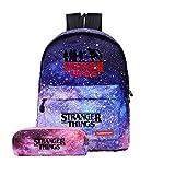 stampa 3d stranger things zaino e astuccio per studenti,stranger things borse zainetto astuccio per adolescenti donna uomo school pack daypack (porpora)