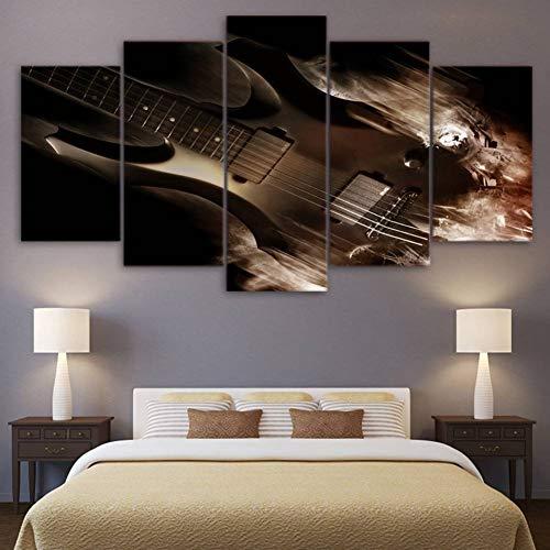 WHFDH Hd gedrukte fotolijst voor de woonkamer, muurkunst, canvas, 5 stuks, abstracte klassieke elektrische gitaar, poster, wooncultuur 10×15 10×20 10×25cm