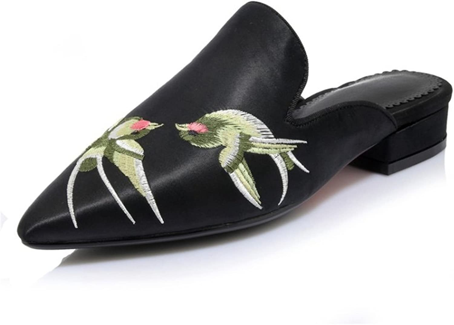 Women's shoes New Spring Summer Handmade Embroidery Sandals Slipper Flat Heel Pointed Wedding shoes Europe America Style Ladies shoes Sandals