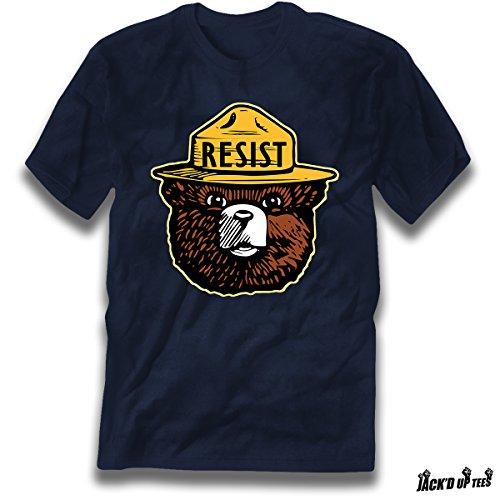 'Resist' Smokey Head Premium Tee - Political - National Park Awareness (XL, Navy)