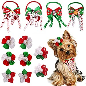 Masue Pets Christmas Dog Hair Bows + Puppy Dog Bowtie Combination 12pcs/Pack Dog Bows with Rubber Bands Set for Christmas Dog Accessories